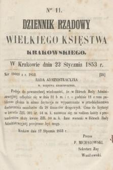 Dziennik Rządowy Wielkiego Księstwa Krakowskiego. 1853, nr11