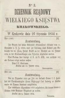 Dziennik Rządowy Wielkiego Księstwa Krakowskiego. 1854, nr3