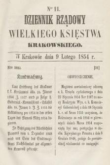 Dziennik Rządowy Wielkiego Księstwa Krakowskiego. 1854, nr11