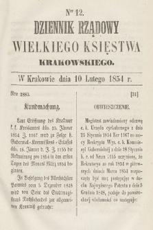 Dziennik Rządowy Wielkiego Księstwa Krakowskiego. 1854, nr12