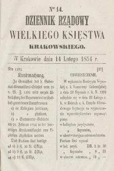 Dziennik Rządowy Wielkiego Księstwa Krakowskiego. 1854, nr14