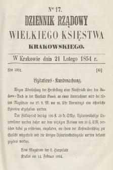 Dziennik Rządowy Wielkiego Księstwa Krakowskiego. 1854, nr17
