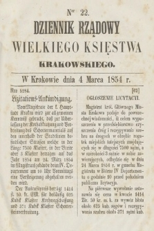 Dziennik Rządowy Wielkiego Księstwa Krakowskiego. 1854, nr22