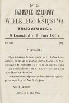 Dziennik Rządowy Wielkiego Księstwa Krakowskiego. 1854, nr24