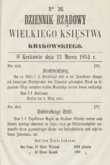 Dziennik Rządowy Wielkiego Księstwa Krakowskiego. 1854, nr26