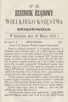 Dziennik Rządowy Wielkiego Księstwa Krakowskiego. 1854, nr27