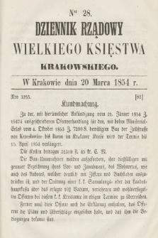 Dziennik Rządowy Wielkiego Księstwa Krakowskiego. 1854, nr28