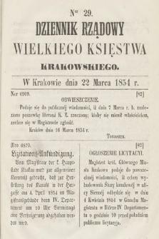 Dziennik Rządowy Wielkiego Księstwa Krakowskiego. 1854, nr29