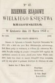 Dziennik Rządowy Wielkiego Księstwa Krakowskiego. 1853, nr47