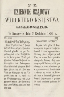 Dziennik Rządowy Wielkiego Księstwa Krakowskiego. 1854, nr35
