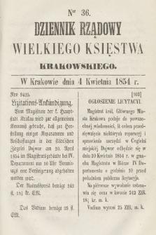 Dziennik Rządowy Wielkiego Księstwa Krakowskiego. 1854, nr36