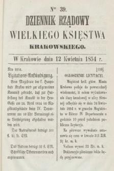 Dziennik Rządowy Wielkiego Księstwa Krakowskiego. 1854, nr39