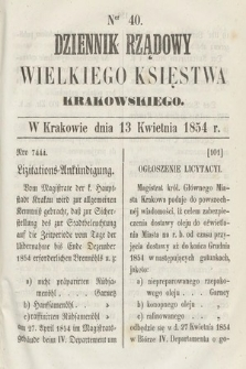 Dziennik Rządowy Wielkiego Księstwa Krakowskiego. 1854, nr40