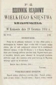 Dziennik Rządowy Wielkiego Księstwa Krakowskiego. 1854, nr42