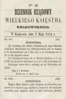 Dziennik Rządowy Wielkiego Księstwa Krakowskiego. 1854, nr46