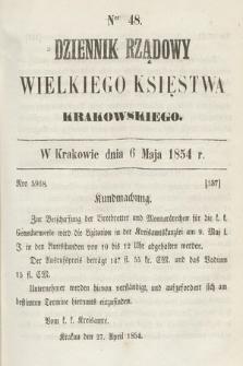 Dziennik Rządowy Wielkiego Księstwa Krakowskiego. 1854, nr48