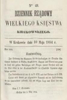Dziennik Rządowy Wielkiego Księstwa Krakowskiego. 1854, nr49