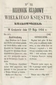 Dziennik Rządowy Wielkiego Księstwa Krakowskiego. 1854, nr52