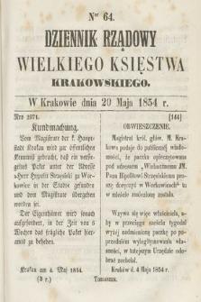 Dziennik Rządowy Wielkiego Księstwa Krakowskiego. 1854, nr64