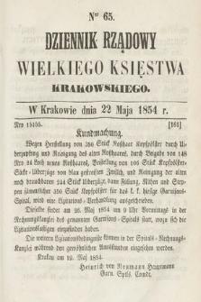 Dziennik Rządowy Wielkiego Księstwa Krakowskiego. 1854, nr65