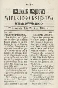Dziennik Rządowy Wielkiego Księstwa Krakowskiego. 1854, nr67