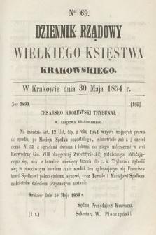 Dziennik Rządowy Wielkiego Księstwa Krakowskiego. 1854, nr69