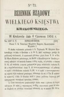 Dziennik Rządowy Wielkiego Księstwa Krakowskiego. 1854, nr72