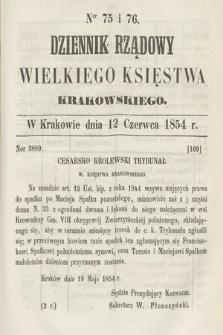 Dziennik Rządowy Wielkiego Księstwa Krakowskiego. 1854, nr75-76