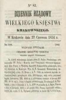 Dziennik Rządowy Wielkiego Księstwa Krakowskiego. 1854, nr83
