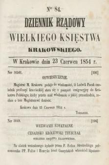 Dziennik Rządowy Wielkiego Księstwa Krakowskiego. 1854, nr84