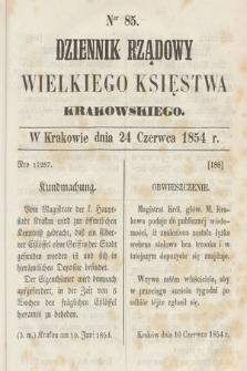 Dziennik Rządowy Wielkiego Księstwa Krakowskiego. 1854, nr85