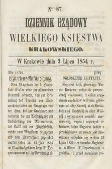 Dziennik Rządowy Wielkiego Księstwa Krakowskiego. 1854, nr87