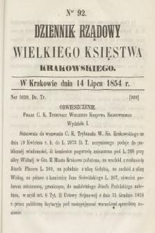 Dziennik Rządowy Wielkiego Księstwa Krakowskiego. 1854, nr92