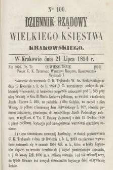Dziennik Rządowy Wielkiego Księstwa Krakowskiego. 1854, nr100