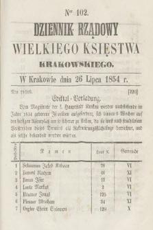 Dziennik Rządowy Wielkiego Księstwa Krakowskiego. 1854, nr102