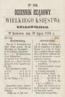Dziennik Rządowy Wielkiego Księstwa Krakowskiego. 1854, nr103
