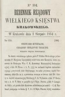 Dziennik Rządowy Wielkiego Księstwa Krakowskiego. 1854, nr104