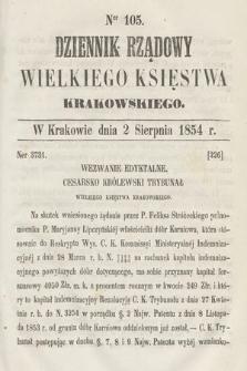 Dziennik Rządowy Wielkiego Księstwa Krakowskiego. 1854, nr105