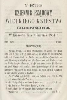 Dziennik Rządowy Wielkiego Księstwa Krakowskiego. 1854, nr107-108