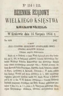 Dziennik Rządowy Wielkiego Księstwa Krakowskiego. 1854, nr114-115