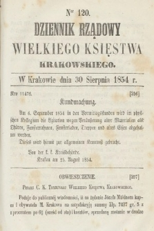 Dziennik Rządowy Wielkiego Księstwa Krakowskiego. 1854, nr120