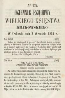 Dziennik Rządowy Wielkiego Księstwa Krakowskiego. 1854, nr122