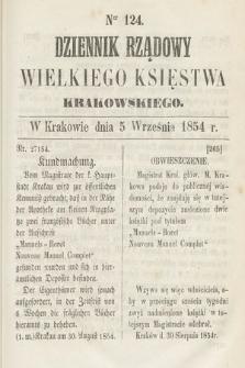 Dziennik Rządowy Wielkiego Księstwa Krakowskiego. 1854, nr124