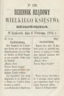Dziennik Rządowy Wielkiego Księstwa Krakowskiego. 1854, nr125