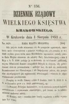 Dziennik Rządowy Wielkiego Księstwa Krakowskiego. 1853, nr156