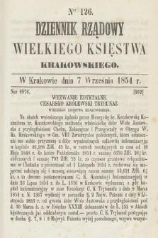 Dziennik Rządowy Wielkiego Księstwa Krakowskiego. 1854, nr126