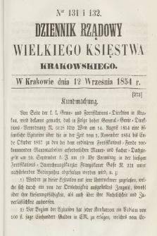 Dziennik Rządowy Wielkiego Księstwa Krakowskiego. 1854, nr131-132
