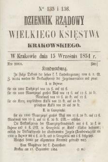 Dziennik Rządowy Wielkiego Księstwa Krakowskiego. 1854, nr135-136