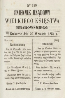 Dziennik Rządowy Wielkiego Księstwa Krakowskiego. 1854, nr138