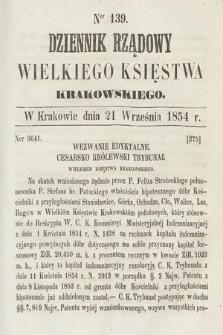 Dziennik Rządowy Wielkiego Księstwa Krakowskiego. 1854, nr139